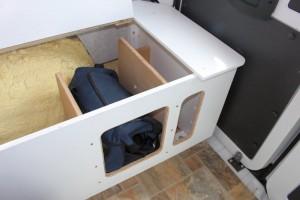 quick access storage under bunks.