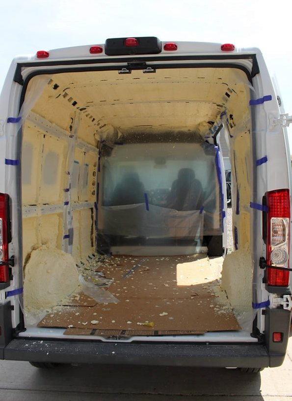 Install insulation build a green rv insulating our van with spray polyurethane foam solutioingenieria Image collections