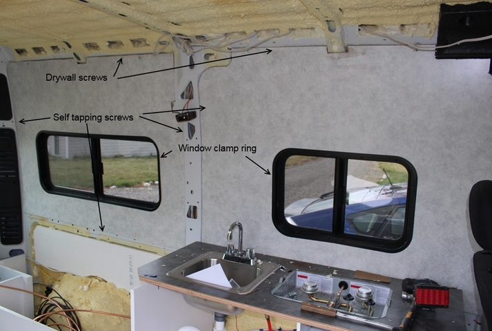 RV wall paneling installed.