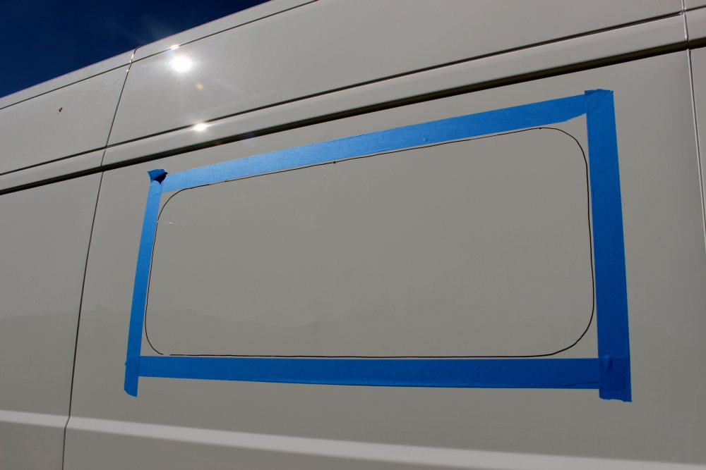 tape to protect van paint from sabre saw