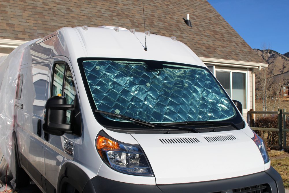 Eurocamper thermal shades on windshield