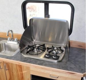 Installing Galley Cabinet Sink Fridge Stove Build
