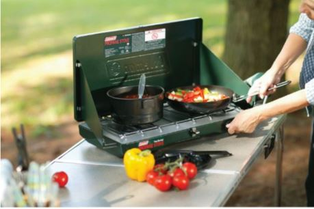 Coleman two burner propane stove.
