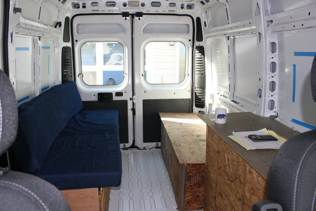 Mockup of the aft bed layout in the ProMaster.