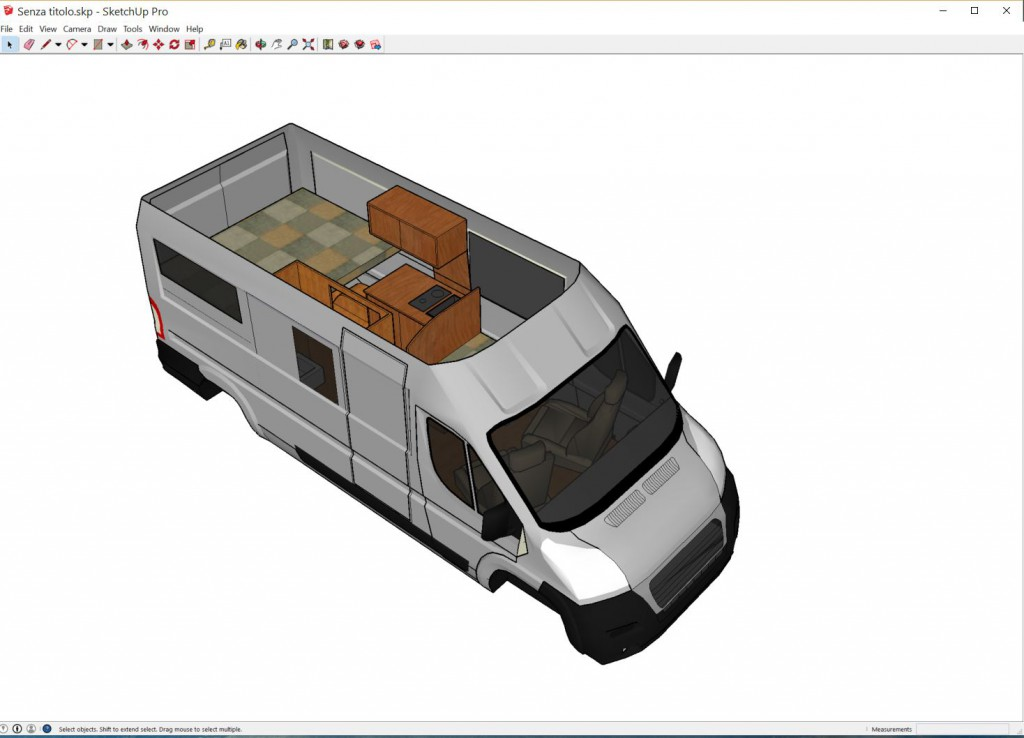 SketchUp model of camper van.